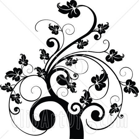 Designhouse Game on Clipart Illustration Of A Black And White Leafy Scroll Tree Design